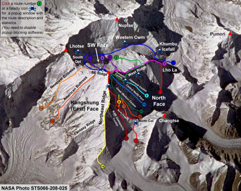 1aerial routes Routes to summit Mt. Everest.