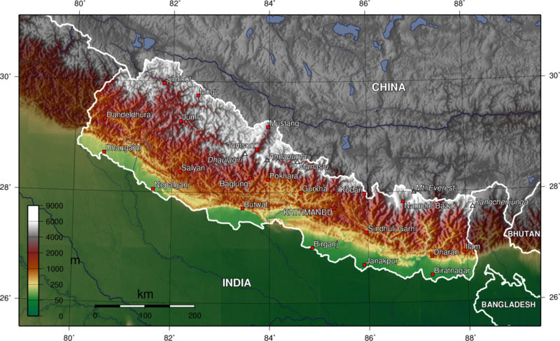 800px nepal topo en Himalaya