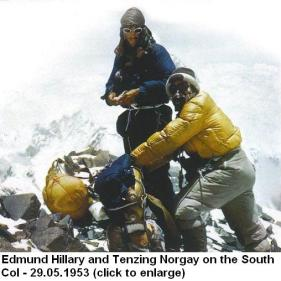 Edmund Hillary and Tenzing Norgay on the South Col New