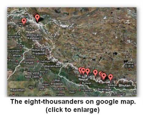 The eight-thousanders on google map New
