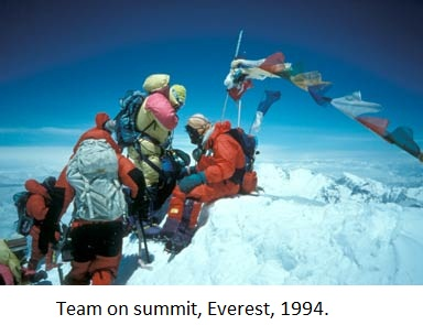 Ed Viesturs on summit, Everest, 1994.