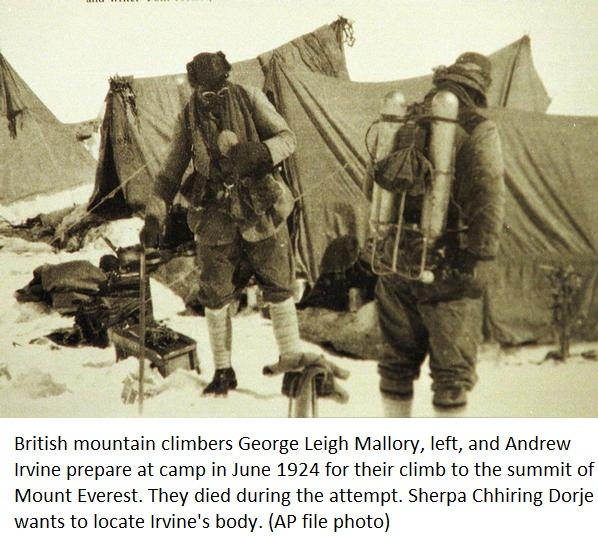 In Search of the Elusive Mallory Camera on Mt. Everest ... George Mallory And Andrew Irvine
