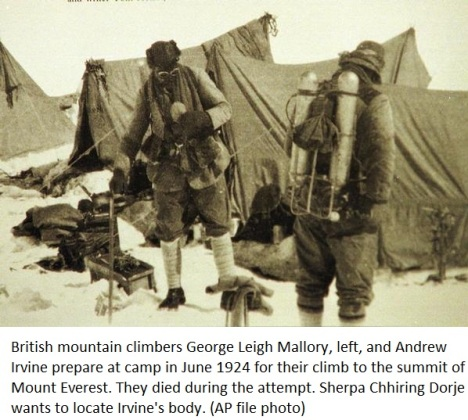 George Leigh Mallory left and Andrew Irvine prepare at camp in June 1924