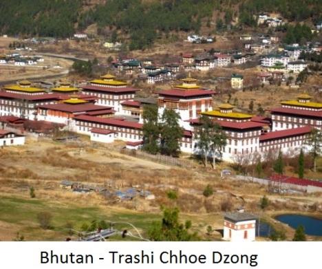 Trashi chhoe dzong in Thimphu Bhutan