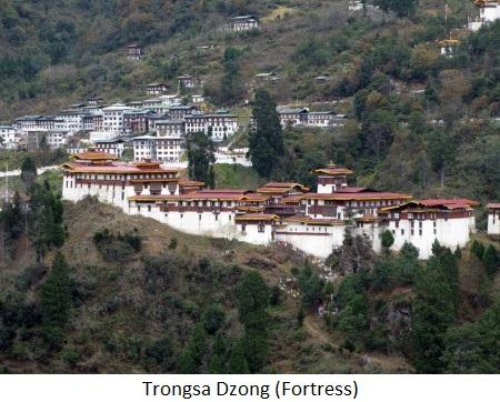 trongsa-dzong fortress in bhutan
