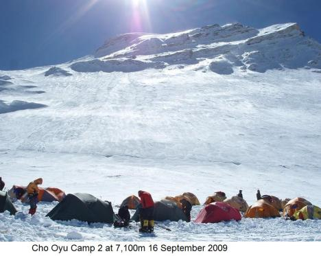 Cho Oyu Camp 2 at 7,100m 16 September 2009