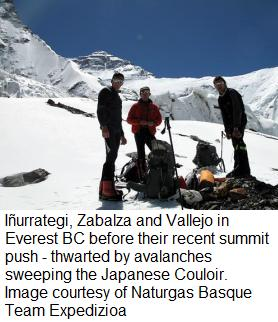 Iñurrategi, Zabalza and Vallejo in Everest BC