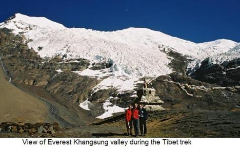 View of Everest Khangsung valley during the Tibet trek