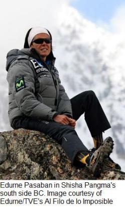 Edurne Pasaban in Shisha Pangma's 2009