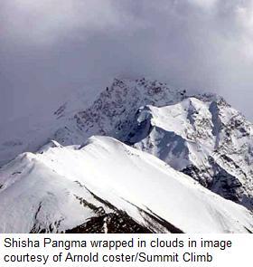 Shisha Pangma wrapped in clouds