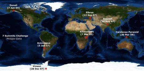 Seven Summits map
