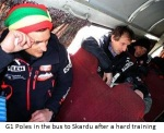 G1 Poles in the bus to Skardu after a hard training