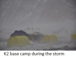 K2 base camp during the storm