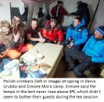 Polish climbers (left in image) stripping in Denis Urubko and Simone Moro camp